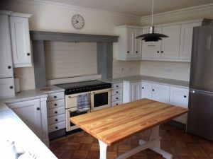 Kitchen cabinets finished in Farrow & Ball strong white.