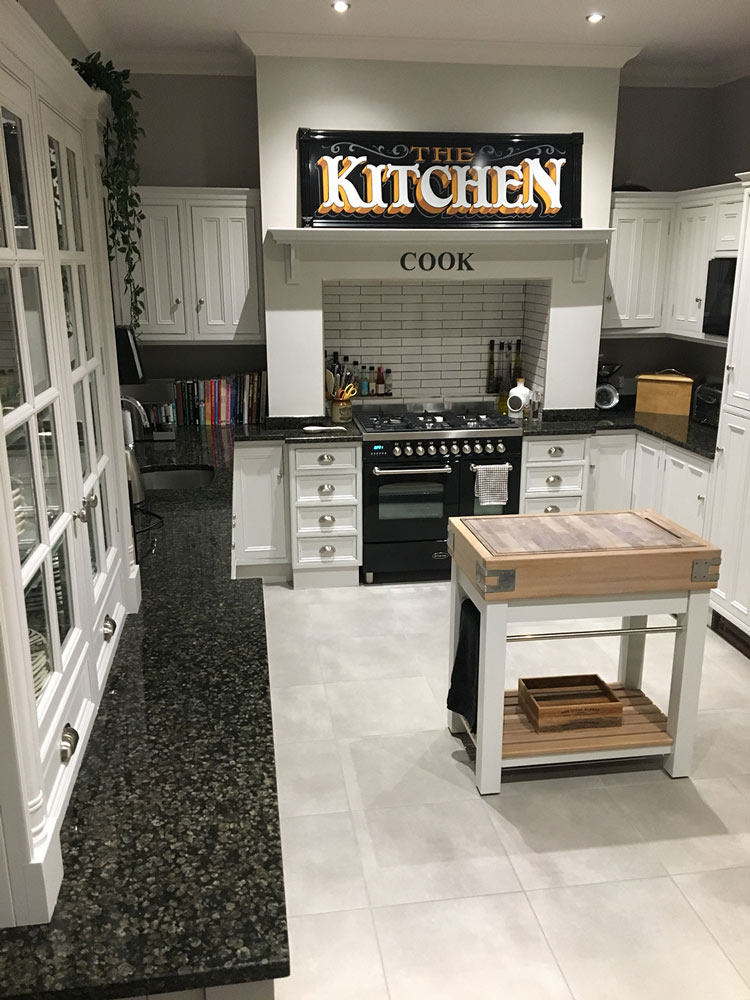 Long view of the hand painted kitchen