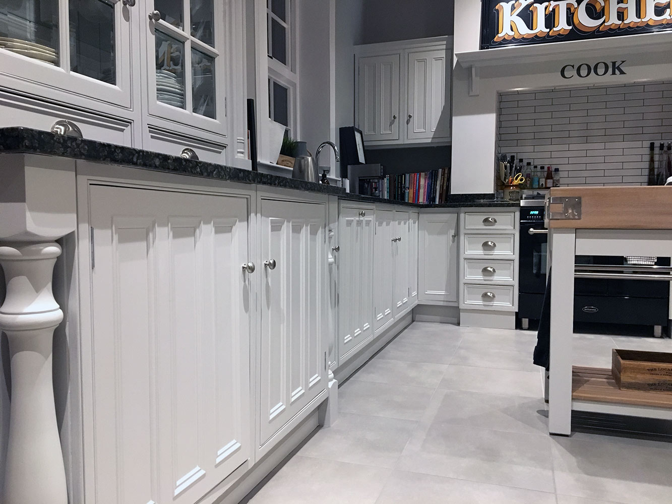 Close up view of the kitchen units